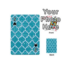 Tile1 White Marble & Turquoise Glitter Playing Cards 54 (mini)  by trendistuff