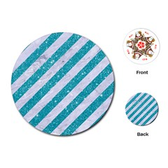 Stripes3 White Marble & Turquoise Glitter (r) Playing Cards (round)  by trendistuff