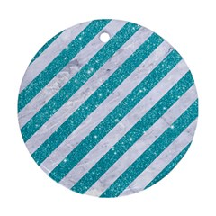 Stripes3 White Marble & Turquoise Glitter (r) Round Ornament (two Sides) by trendistuff
