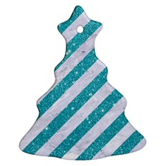 Stripes3 White Marble & Turquoise Glitter (r) Christmas Tree Ornament (two Sides) by trendistuff