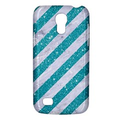 Stripes3 White Marble & Turquoise Glitter (r) Galaxy S4 Mini by trendistuff