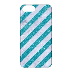 Stripes3 White Marble & Turquoise Glitter (r) Apple Iphone 8 Plus Hardshell Case by trendistuff