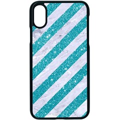 Stripes3 White Marble & Turquoise Glitter (r) Apple Iphone X Seamless Case (black)