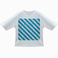 Stripes3 White Marble & Turquoise Glitter Infant/toddler T Shirts by trendistuff