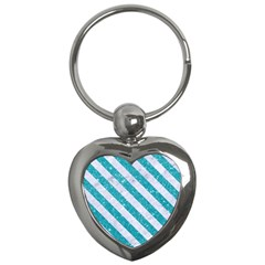 Stripes3 White Marble & Turquoise Glitter Key Chains (heart)  by trendistuff