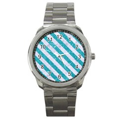 Stripes3 White Marble & Turquoise Glitter Sport Metal Watch by trendistuff
