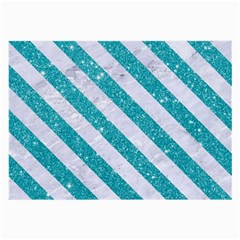 Stripes3 White Marble & Turquoise Glitter Large Glasses Cloth (2 Side)