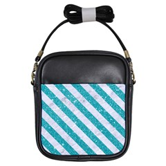 Stripes3 White Marble & Turquoise Glitter Girls Sling Bags by trendistuff