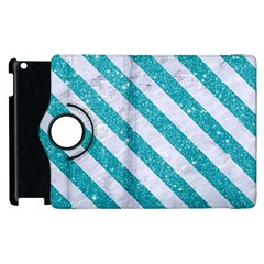 Stripes3 White Marble & Turquoise Glitter Apple Ipad 2 Flip 360 Case by trendistuff