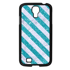 Stripes3 White Marble & Turquoise Glitter Samsung Galaxy S4 I9500/ I9505 Case (black) by trendistuff