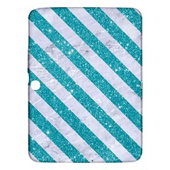 Stripes3 White Marble & Turquoise Glitter Samsung Galaxy Tab 3 (10 1 ) P5200 Hardshell Case  by trendistuff