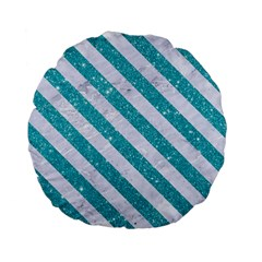 Stripes3 White Marble & Turquoise Glitter Standard 15  Premium Flano Round Cushions by trendistuff