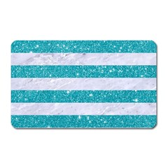 Stripes2white Marble & Turquoise Glitter Magnet (rectangular) by trendistuff