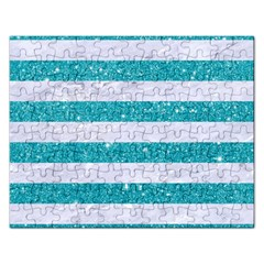 Stripes2white Marble & Turquoise Glitter Rectangular Jigsaw Puzzl by trendistuff
