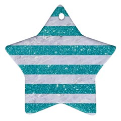 Stripes2white Marble & Turquoise Glitter Star Ornament (two Sides) by trendistuff