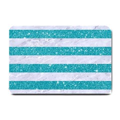 Stripes2white Marble & Turquoise Glitter Small Doormat