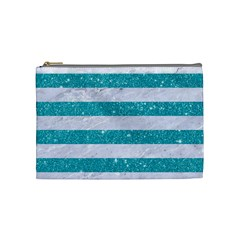 Stripes2white Marble & Turquoise Glitter Cosmetic Bag (medium)  by trendistuff