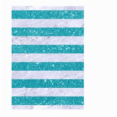 Stripes2white Marble & Turquoise Glitter Large Garden Flag (two Sides) by trendistuff