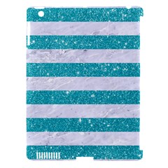 Stripes2white Marble & Turquoise Glitter Apple Ipad 3/4 Hardshell Case (compatible With Smart Cover) by trendistuff