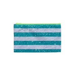 Stripes2white Marble & Turquoise Glitter Cosmetic Bag (xs) by trendistuff