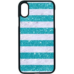 Stripes2white Marble & Turquoise Glitter Apple Iphone X Seamless Case (black)
