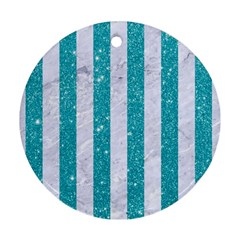 Stripes1 White Marble & Turquoise Glitter Ornament (round) by trendistuff