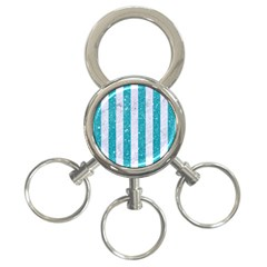 Stripes1 White Marble & Turquoise Glitter 3 Ring Key Chains by trendistuff
