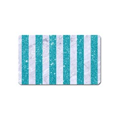 Stripes1 White Marble & Turquoise Glitter Magnet (name Card) by trendistuff