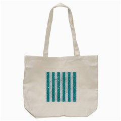 Stripes1 White Marble & Turquoise Glitter Tote Bag (cream) by trendistuff