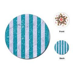 Stripes1 White Marble & Turquoise Glitter Playing Cards (round)  by trendistuff