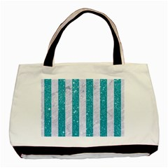 Stripes1 White Marble & Turquoise Glitter Basic Tote Bag by trendistuff