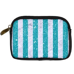 Stripes1 White Marble & Turquoise Glitter Digital Camera Cases by trendistuff