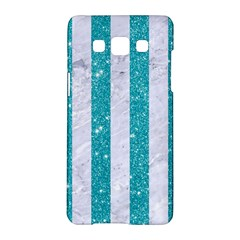 Stripes1 White Marble & Turquoise Glitter Samsung Galaxy A5 Hardshell Case  by trendistuff