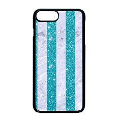 Stripes1 White Marble & Turquoise Glitter Apple Iphone 8 Plus Seamless Case (black) by trendistuff