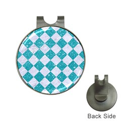 Square2 White Marble & Turquoise Glitter Hat Clips With Golf Markers