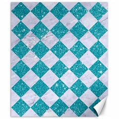 Square2 White Marble & Turquoise Glitter Canvas 20  X 24   by trendistuff