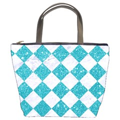 Square2 White Marble & Turquoise Glitter Bucket Bags by trendistuff