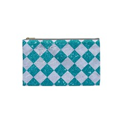 Square2 White Marble & Turquoise Glitter Cosmetic Bag (small)  by trendistuff