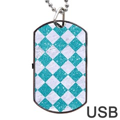 Square2 White Marble & Turquoise Glitter Dog Tag Usb Flash (one Side) by trendistuff