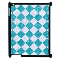 Square2 White Marble & Turquoise Glitter Apple Ipad 2 Case (black) by trendistuff