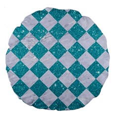 Square2 White Marble & Turquoise Glitter Large 18  Premium Round Cushions by trendistuff