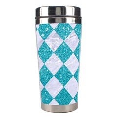 Square2 White Marble & Turquoise Glitter Stainless Steel Travel Tumblers by trendistuff