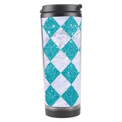 Square2 White Marble & Turquoise Glitter Travel Tumbler by trendistuff