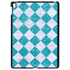 Square2 White Marble & Turquoise Glitter Apple Ipad Pro 9 7   Black Seamless Case by trendistuff