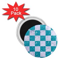 Square1 White Marble & Turquoise Glitter 1 75  Magnets (10 Pack)  by trendistuff