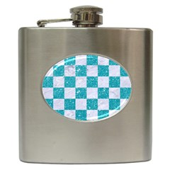 Square1 White Marble & Turquoise Glitter Hip Flask (6 Oz)