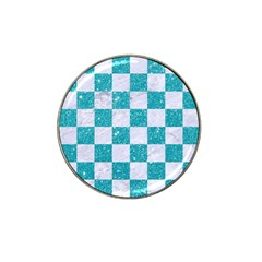 Square1 White Marble & Turquoise Glitter Hat Clip Ball Marker (10 Pack) by trendistuff