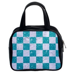 Square1 White Marble & Turquoise Glitter Classic Handbags (2 Sides) by trendistuff