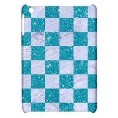 Square1 White Marble & Turquoise Glitter Apple Ipad Mini Hardshell Case by trendistuff