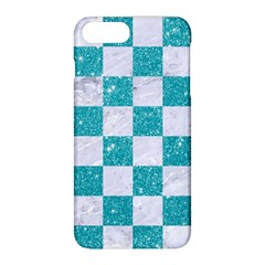 Square1 White Marble & Turquoise Glitter Apple Iphone 8 Plus Hardshell Case by trendistuff